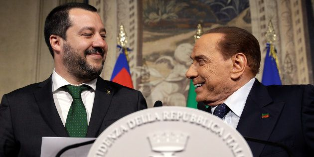 Matteo Salvini, patron de la Ligue (extrême droite) et Silvio Berlusconi. Pour la première fois en Europe,...