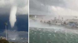 Une impressionnante trombe marine s'est abattue sur le port de San