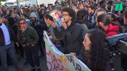 Les images des étudiants, cheminots et postiers qui bloquent l'accès aux examens à