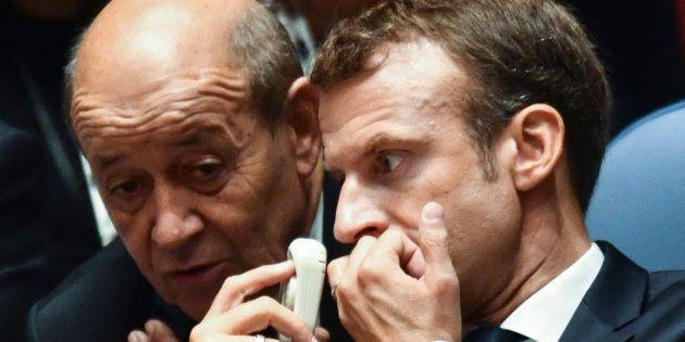 Jean-Yves Le Drian et Emmanuel Macron à New York le 26 septembre