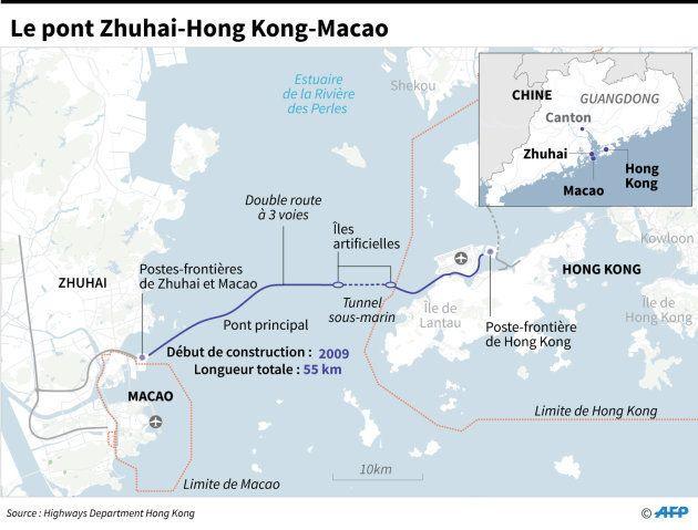 Le trajet du pont gigantesque reliant la Chine à Hong Kong et