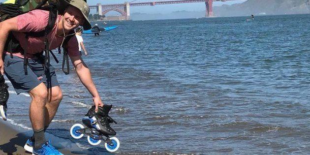 Jour 1 (28 mai 2018, San Francisco, Californie): avec le pont du Golden Gate en arrière-plan, c'est très motivé que Mike quitte la plage pour entamer un long voyage vers l'est.