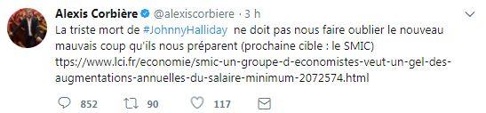 Accusé de récupérer la mort de Johnny Hallyday, Alexis Corbière efface un tweet