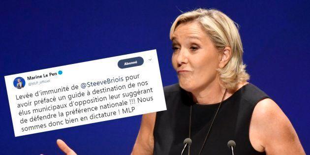 Marine Le Pen a qualifié la France de dictature après que l'immunité parlementaire de Steeve Briois a...