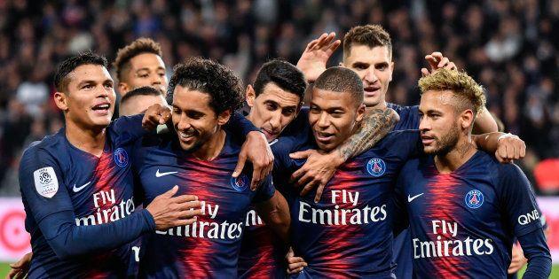 Les Parisiens durant leur match contre Lyon en Ligue 1 le 7 octobre