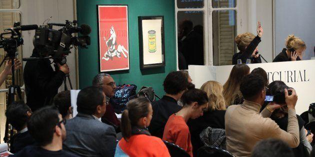 Des médias très nombreux étaient présents dans la maison Artcurial pour une vente aux enchères qui s'est...