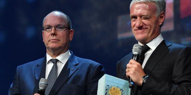 Albert de Monaco et Didier Deschamps, premier lauréat du Prix de la Légende du Sport, au Sportel de Monaco...