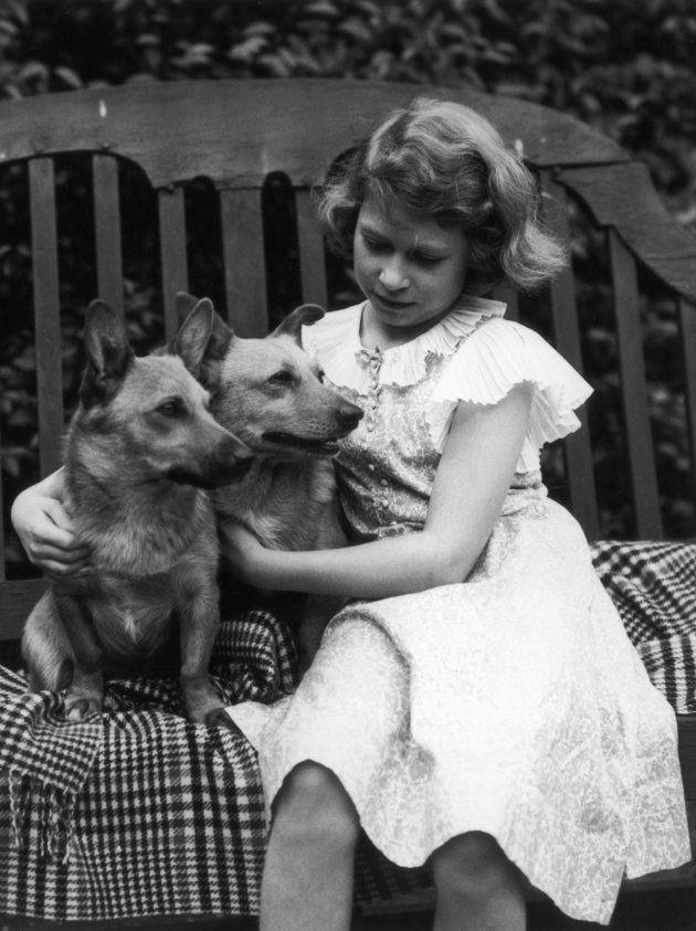 La Princess Elizabeth en 1936 aux côtés de ses premiers Corgis, Jane et