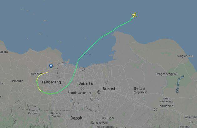 Le suivi du vol de Lion Air sur le site Flight Radar. Treize minutes après le décollage, l'avion a disparu...