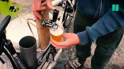 Ce cheminot a inventé une tireuse à bière sur vélo pour des manifs plus