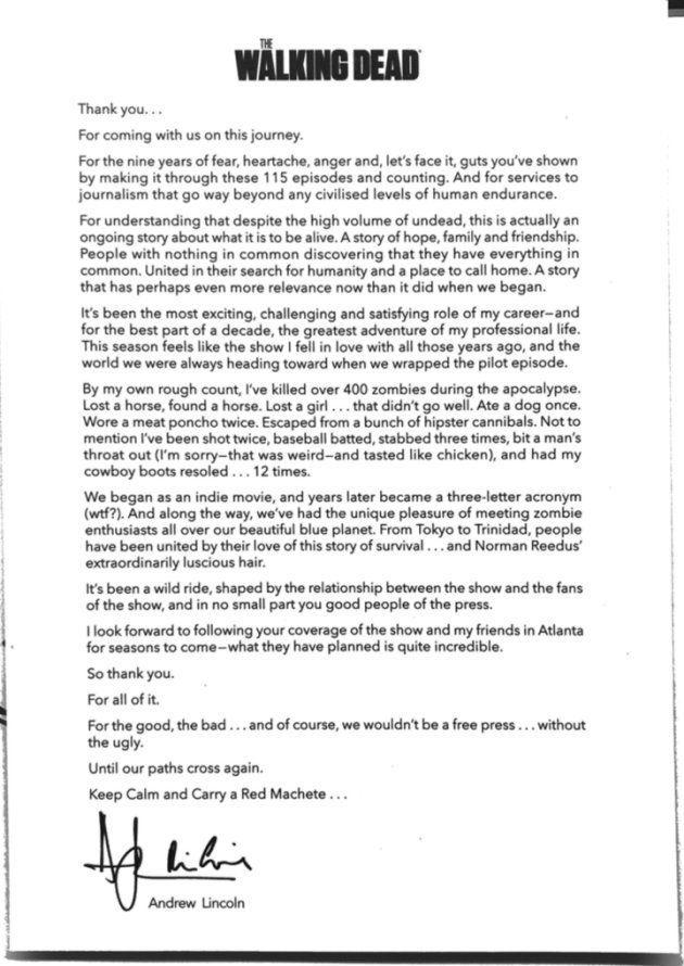 La lettre d'adieu d'Andrew