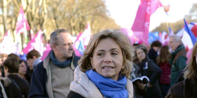 Valérie Pécresse lors d'un défilé de La Manif pour tous en décembre
