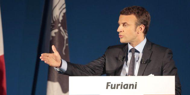 Emmanuel Macron à Furiani (Corse) en avril 2017, pendant la campagne