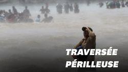Des migrants tentent une périlleuse traversée de ce fleuve pour atteindre le