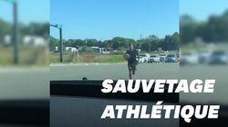 Cet athlète pro n'a pas hésité à sprinter en plein carrefour pour sauver une
