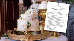 Le gâteau et le menu (très appétissant) du mariage