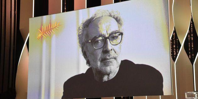 Une image projetée sur la scène du palais des Festival de Cannes samedi 19 mai en l'absence de Jean-Luc