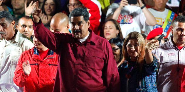 Nicolas Maduro devant ses supporters à Caracas le 20 mai