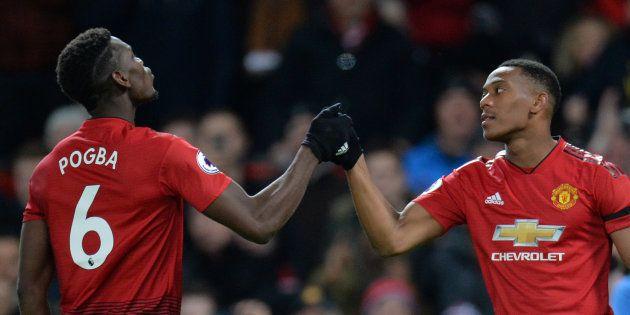 Anthony Martial et Paul Pogba à Old Trafford le 28 octobre lors de la victoire de Manchester sur