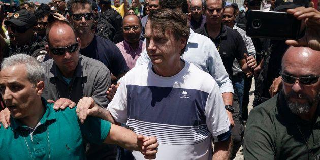 Jair Bolsonaro à Rio de Janeiro lors de sa première apparition publique en tant que président élu du...