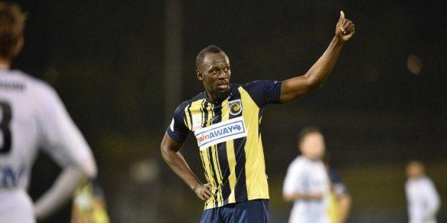 Usain Bolt lors de son premier match avec les Central Coast Mariners, le 12 août 2018 en
