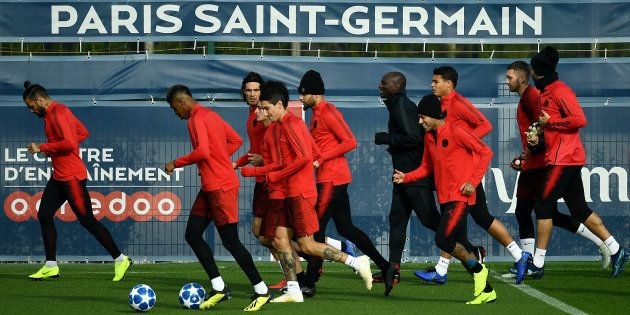 Les joueurs du PSG à l'entraînement à Saint-Germain-en-Laye le 5 novembre