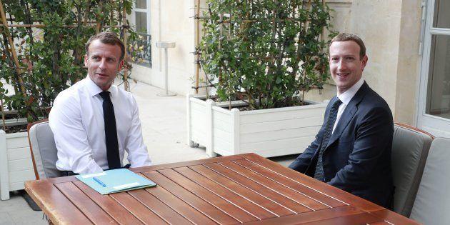 Emmanuel Macron et Mark Zuckerberg à l'Elysée le 23 mai