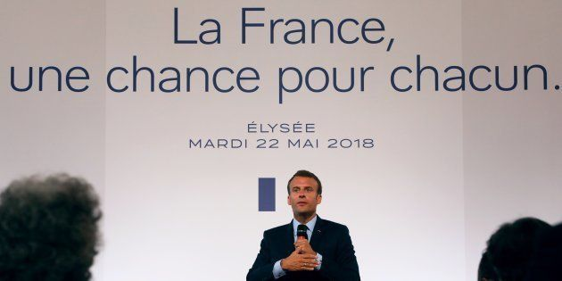 Emmanuel Macron lors de la conférence de presse sur les banlieues, le 22 mai 2018 à