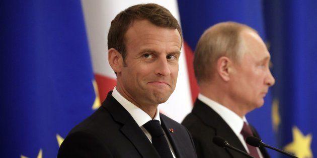 Emmanuel Macron et Vladimir Poutine à Saint-Pétersbourg le 24 mai