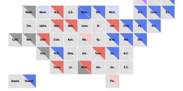 Carte des résultats réalisée par Le HuffPost