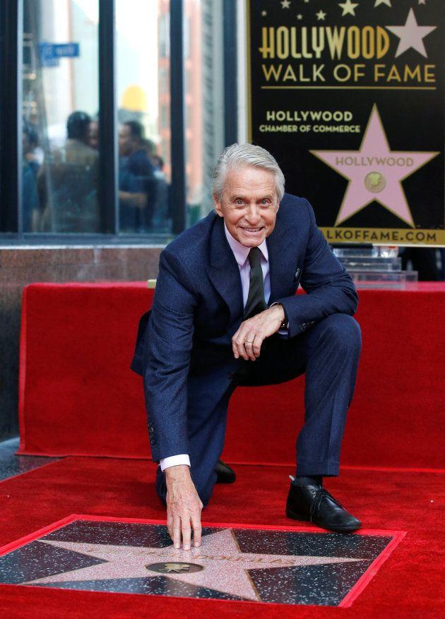 Michael Douglas lors de l'inauguration de son étoile au