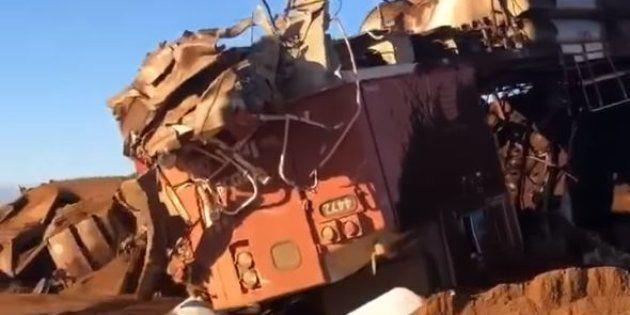 Une partie du train de 268 wagons qui a été déraillé par la compagnie BHP, le 5 novembre 2018 en