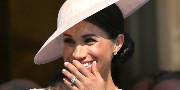 Avec ce blason, Meghan Markle (ici le 22 mai à Buckingham Palace) a reçu un rare honneur, voici ce qu'il