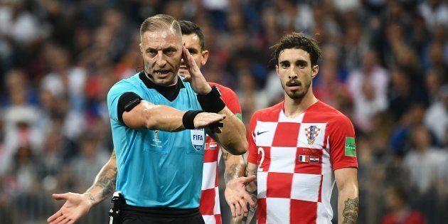 L'arbitre argentin Nestor Pitana lors de France-Croatie à Moscou le 15 juillet