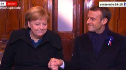 Les images fortes de Macron et Merkel réunis dans le wagon de