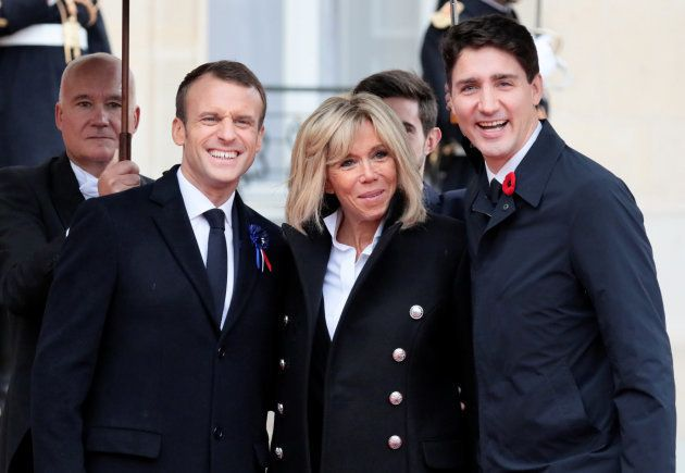 Emmanuel Macron et Brigitte accueillent Justin