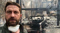 Gerard Butler montre ce qu'il reste de sa maison après l'incendie de