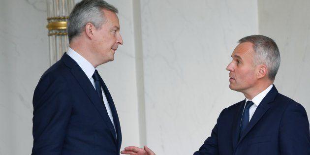 Bruno Le Maire et François de Rugy (ici à la sortie d'un conseil des ministres) travaillent à un plan...