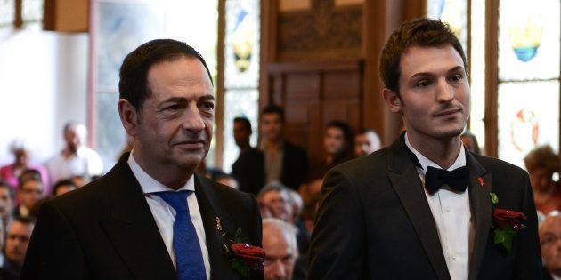 Jean-Luc Romero et Christophe Michel lors de leur mariage, en septembre