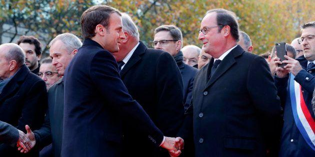 Emmanuel Macron et François Hollande lors de l'hommage aux victimes du 13 novembre en