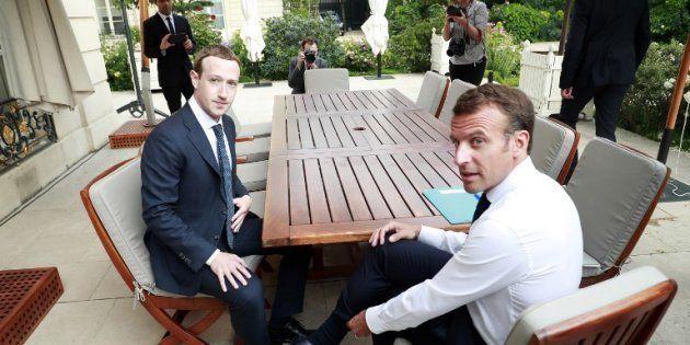 Emmanuel Macron et Mark Zuckerberg à l'Élysée le 23 mai
