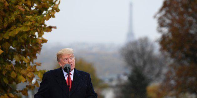 Donald Trump à Suresnes le 11 novembre 2018, un jour après avoir annulé sa visite à Bois