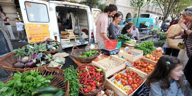 Un étalage de fruits et légumes bio sur le marché de