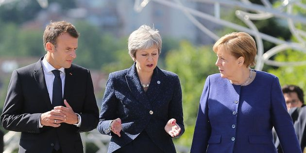 Emmanuel Macron, Theresa May et Angela Merkel à Sofia en mai 2018 (photo