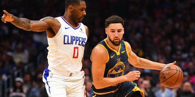 Les Warriors de Golden State (ici Klay Thompson) lors de leur match contre les Clippers de Los Angeles,...
