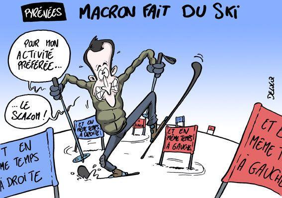Un virage à gauche, un à droite, Macron habitué du slalom au ski comme en