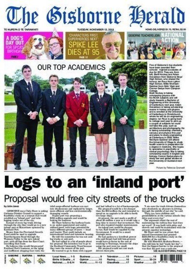 La fameuse une erronée du Gisborne Herald, imprimée le 13 novembre