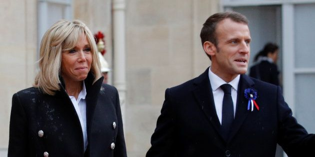 Emmanuel et Brigitte Macron à l'Élysée dans le cadre des commémorations de