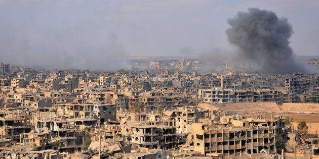 La ville syrienne de Deir ez-Zor lors d'une opération anti-Daech menée par le gouvernement syrien, le...