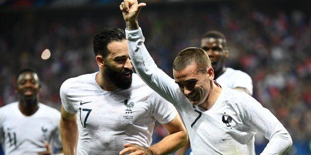 Antoine Griezmann vient d'inscrire sur penalty le 2e but des Bleus face à l'Italie à Nice le 1er juin